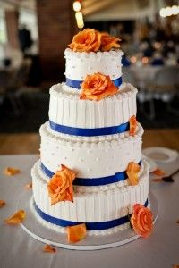 Orange and Blue Accents on Wedding Cake