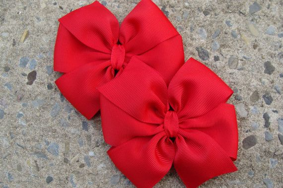 2 Red Hair Bows Large hair bow by innavert on Etsy, $4.25