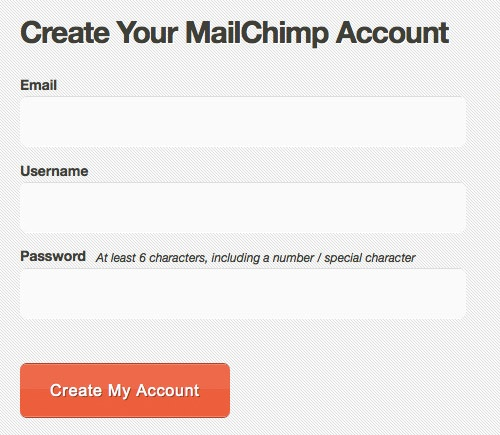 Mailchimp, 3 fields, with directions
