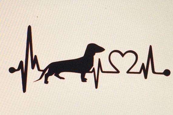 Dachshund Love Heartbeat Die Cut Vinyl Decal by DaizysDezigns
