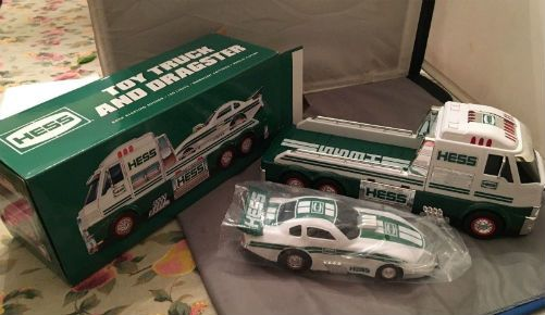 2016 Hess Toy Truck. The 2016 Hess Toy Truck and Dragster is a strong, race-ready duo with sleek styling, drag-racing inspired sounds, over 50 brilliant lights and an innovative design for wheelie-popping action! This Truck is a mighty motorsport flatbed designed to transport the dragster to any racing event and the oversized Dragster is the largest accompanying race car in the fleet's history.