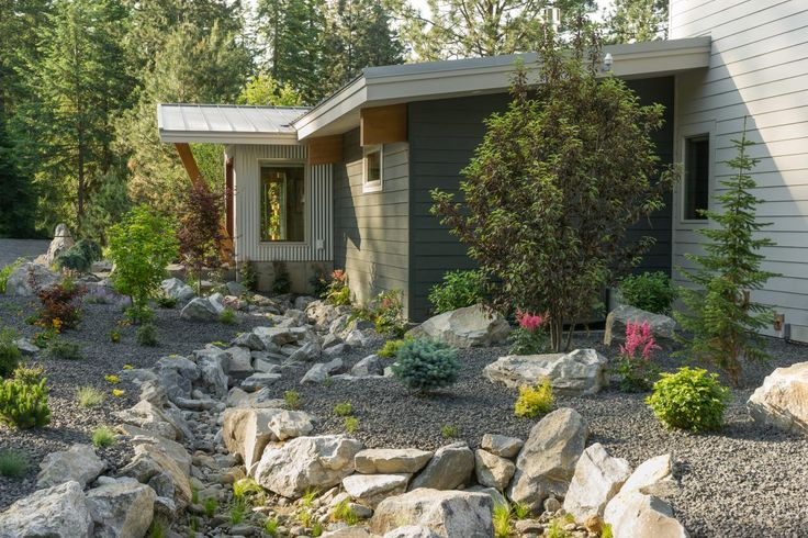 To keep the modern look and feel, there are no gutters at Blog Cabin. Instead, water drains into beds of rock.