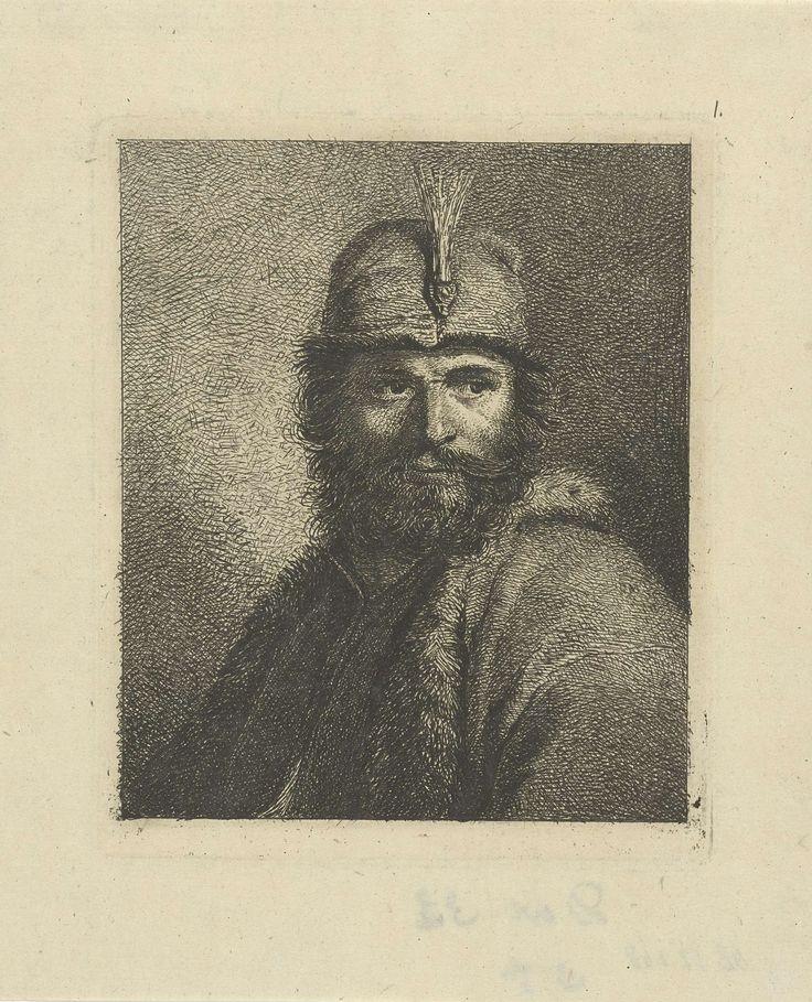 Johannes Pieter de Frey | Portret van onbekende man met baard en gepluimde hoed, Johannes Pieter de Frey, 1780 - 1834 | Portret van een onbekende man met baard en gepluimde hoed, ten halven lijve naar links.