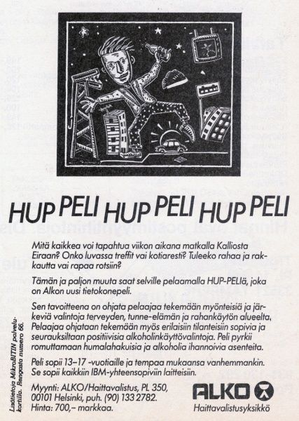 Hup-Peli game's ad in the MikroBitti magazine (11/88).
