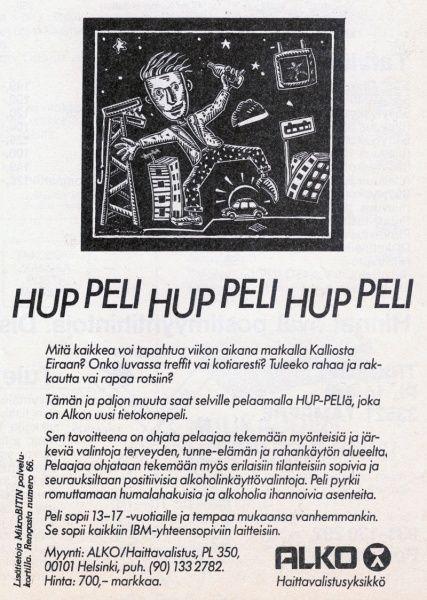 Hup-Peli game's ad in the MikroBitti magazine (11/88).