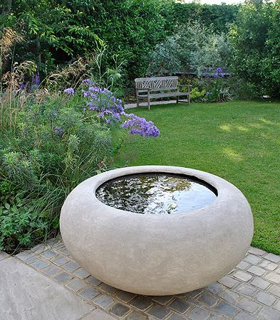 Poppy Planter bowl as water bowl.118x58cms (4'x2')Love this for middle of bark circle. Need stone circle to sit it on.