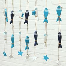 10pcs Wooden Mediterranean hung fish star marine pendant Nautical Wall decor Ornament wood home decor craft supplies(China (Mainland))
