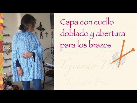 Capa con cuello alto para damas tejida en dos agujas o palitos - YouTube