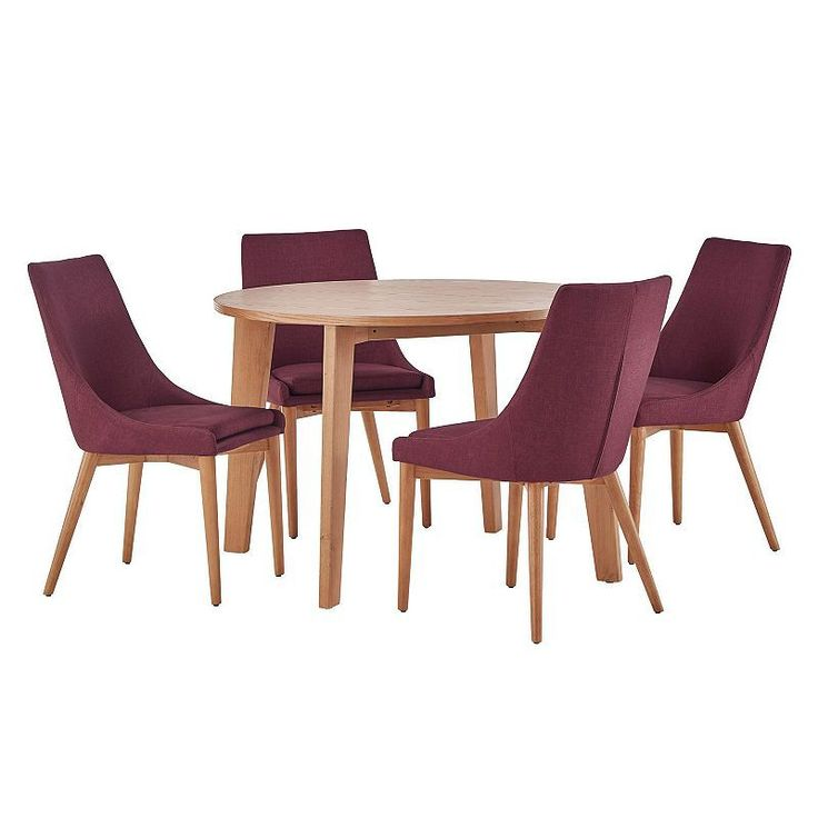 HomeVance Allegra Midcentury Dining Table & Chair 5-piece Set, Red