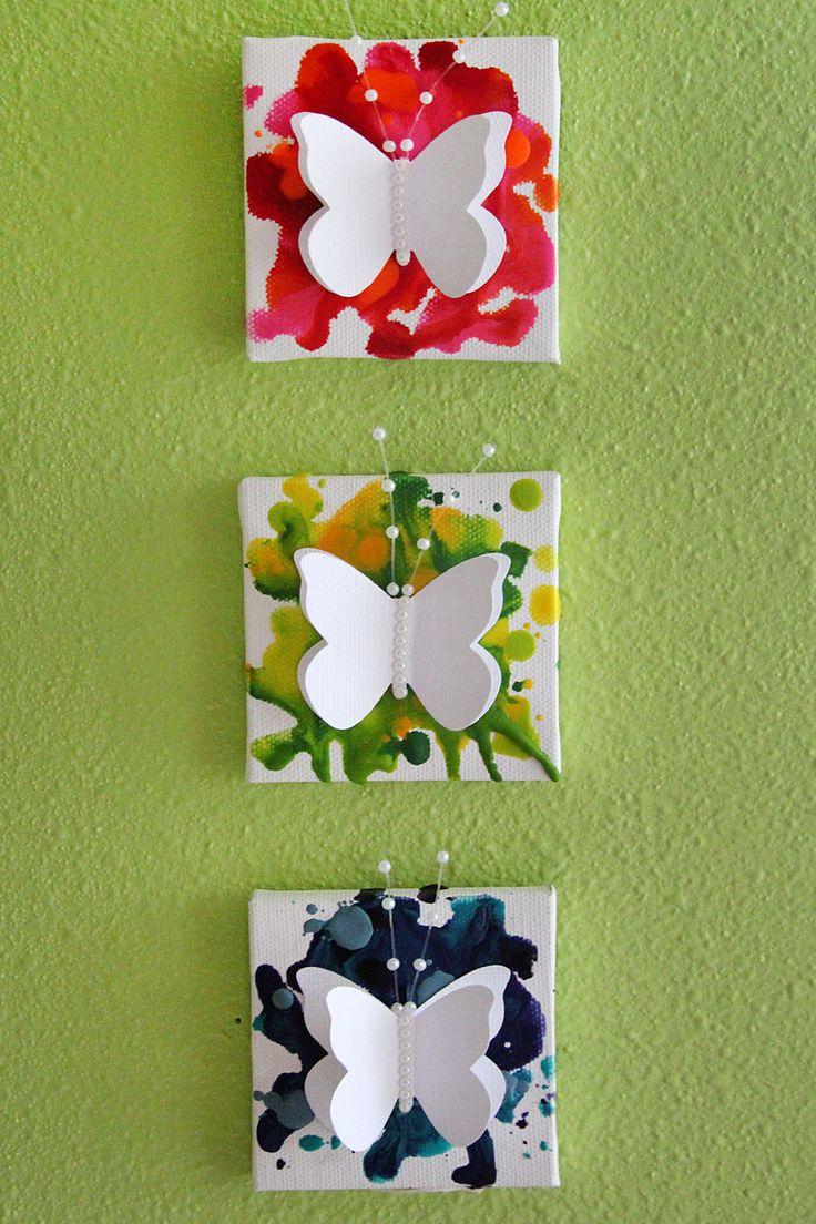 Mini papillon crayon art toiles - Artisanat Unleashed