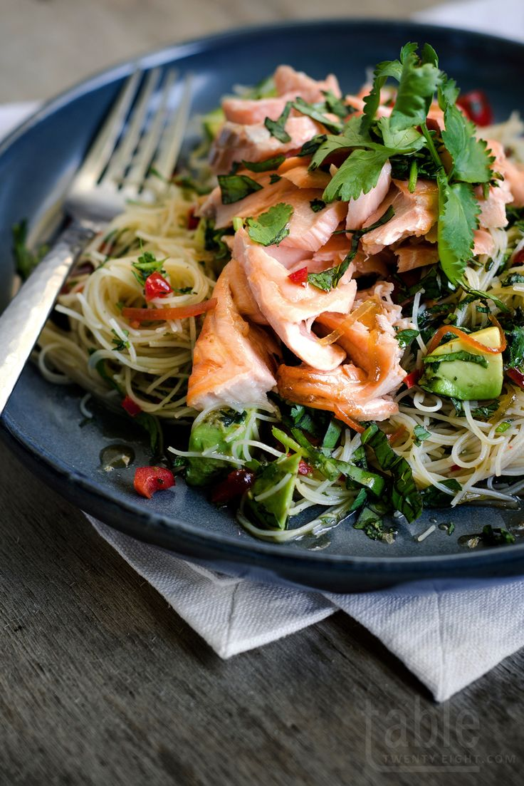 THAI-INSPIRED SPICY SALMON, AVOCADO, TOMATO & HERB NOODLES with LIME DRESSING [tabletwentyeight]