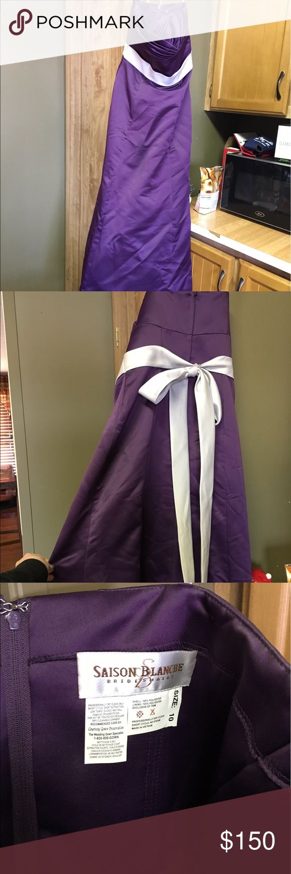 Saison Blanche purple bridesmaid dress worn once Beautiful purple floor length gown. Has small train. Ties in back with a sweetheart neckline. Dress is a size 10 but fits at 6/8. Worn once for a wedding. Would make a gorgeous prom dress saison blanche Dresses Prom