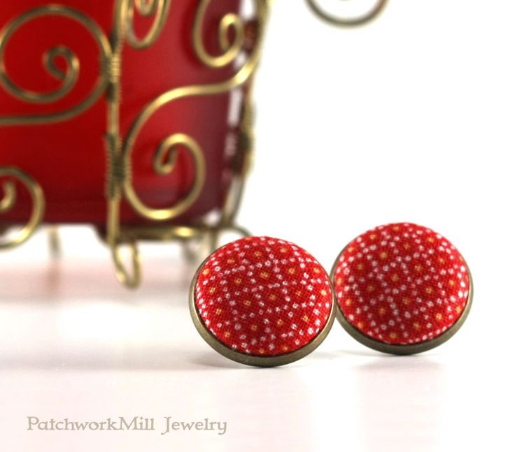 Holiday Red Stud Earrings - Earring Studs - Fabric Covered Buttons Earrings Jewelry - Yellow Dots Earring Posts Christmas Gift by PatchworkMillJewelry