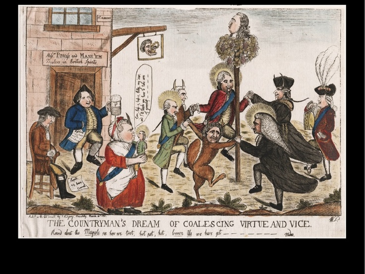 """""""The Countryman's Dream of Coalescing Virtue and Vice"""" by William Dent, 1784. A print made during the early days of Pitt's ministry, when it seemed unlikely to survive. It refers to  the scheme of the country gentlemen (backbench MPs), meeting at the St. Alban's Tavern, for a 'union' between Pitt and Charles James Fox, the leader of the opposition. Pitt is the tiny figure held in the arms of the 'nurse' (actually Lord North) to the left of the maypole dancers."""