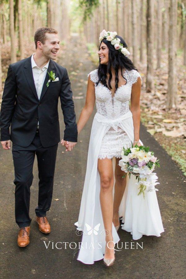 Scalloped White Lace And Chiffon Overskirt Bridal Dress Lace