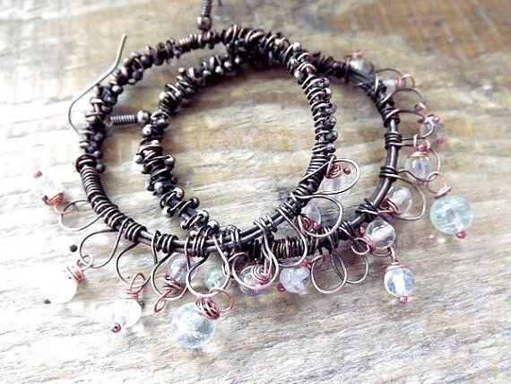 Jewellery. Earrings. Copper earrings. Original by AcoyaJewellery