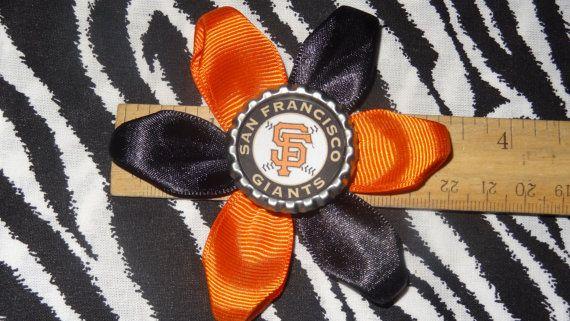 Sporty Bottlecap MLB San Fransico Giants Logo Hair by Bowsbykittak, $3.00