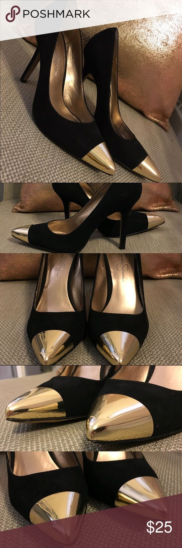"Jessica Simpson gold toe pumps Jessica Simpson gold cap toe, black pumps. Faux suede. I've worn them 3 times. Heel height is 4.25"". No damage to shoes or the cap toe. Jessica Simpson Shoes Heels"