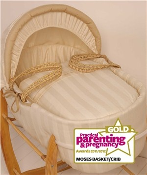 Kiddicare Baby Weavers Butterscotch Palm Moses Basket - Best Moses Basket or Crib (Gold)