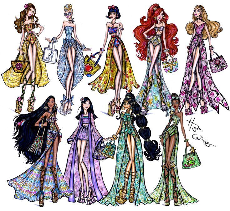#Hayden Williams Fashion Illustrations: #Disney Divas 'Beach Beauties' collection by Hayden Williams.