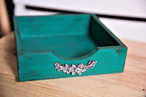 Wooden napkin holder farmhouse table decor mint green