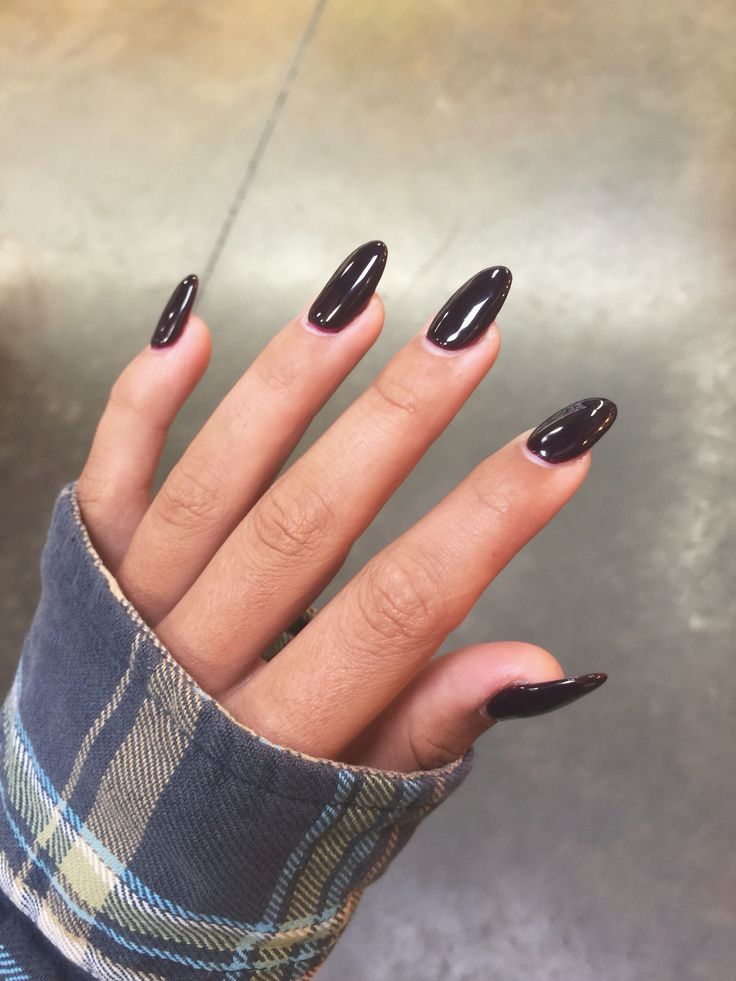 Long Oval Almond Burgundy Dark Red Acrylic Nails Red