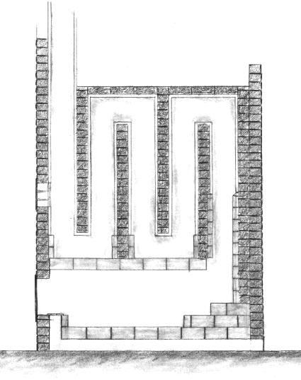 russian masonry stove section