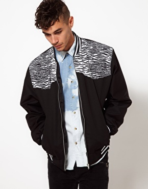 Reclaimed Vintage Bomber with Zebra Print Panel