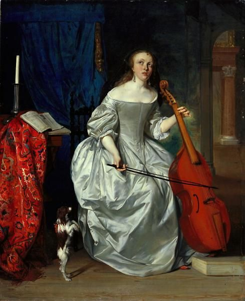 Gabriel Metsu (Dutch, 1629–1667). Woman Playing the Viola da Gamba, 1663. Oil on panel. Roscoe and Margaret Oakes Collection. 60.30