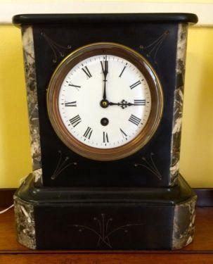 "French Bedroom Clock   9.5"" Wide x 5"" deep x 11"" High   $375  Butler Creek Antiques Dealer #8804  Lucas Street Antiques 2023 Lucas Dr. Dallas, TX 75219  Like us on Facebook: https://www.f"