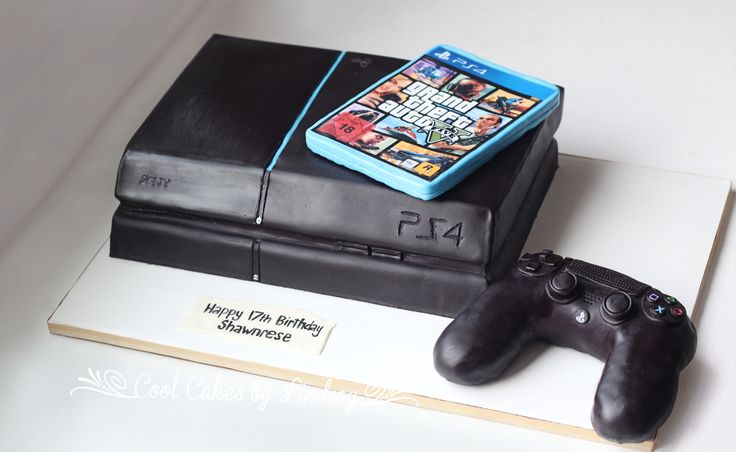 PS4 Cake!  Playstation 4 Cake!  All Edible =)