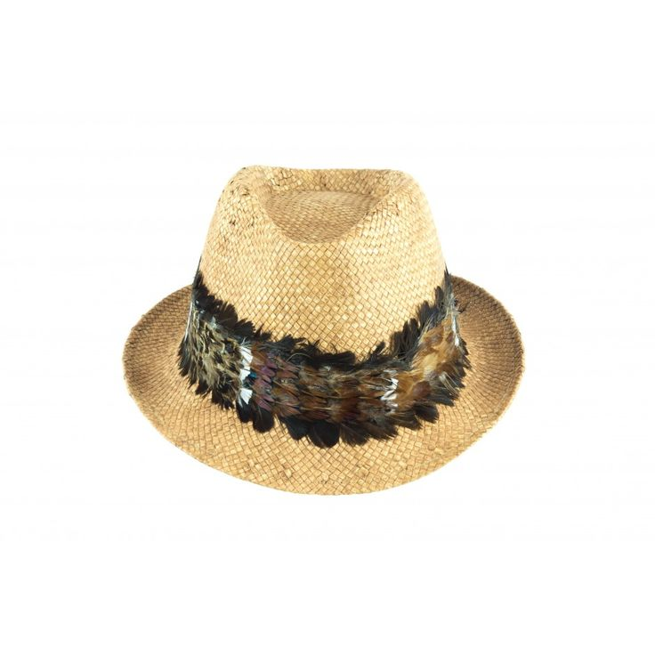 Cappello unisex in carta tessile stone wash con guarnizione in piume di fagiano