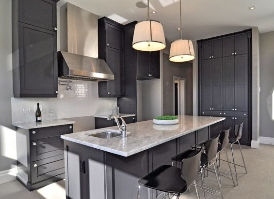 Kitchen, Contemporary Kitchen Design With Dark Gray Cabinet Plus Attractive  Kitchen Island Completed With Marble Countertop And Decorated With Stylish  ...