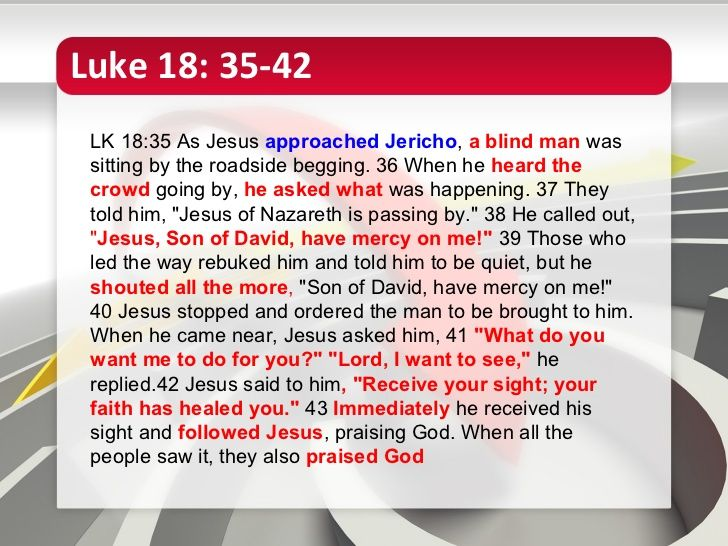 Luke 18:35-42-Matthew says there were two blind men, and that this happened on the way out of Jericho, not going in. Either there were two separate but remarkably similar incidents, or there was some disagreement/discrepancy. For instance, one possibility says there was an 'old Jericho' and a 'new Jericho', just as how a town center will sometimes gradually shift from one side of town to another. Regardless, it shows the first church didn't sit around getting their stories together and…