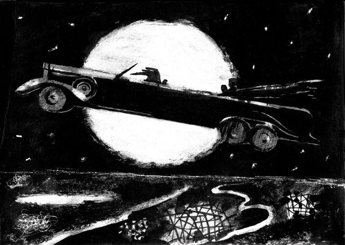 Иллюстрации Марии Романовой. Автомобиль с грачом за рулем.