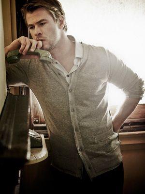 Chris Hemsworth in a wool cardigan