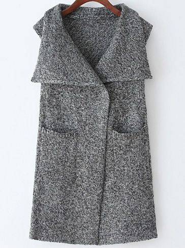 Grey Lapel Sleeveless Pockets Sweater Vest
