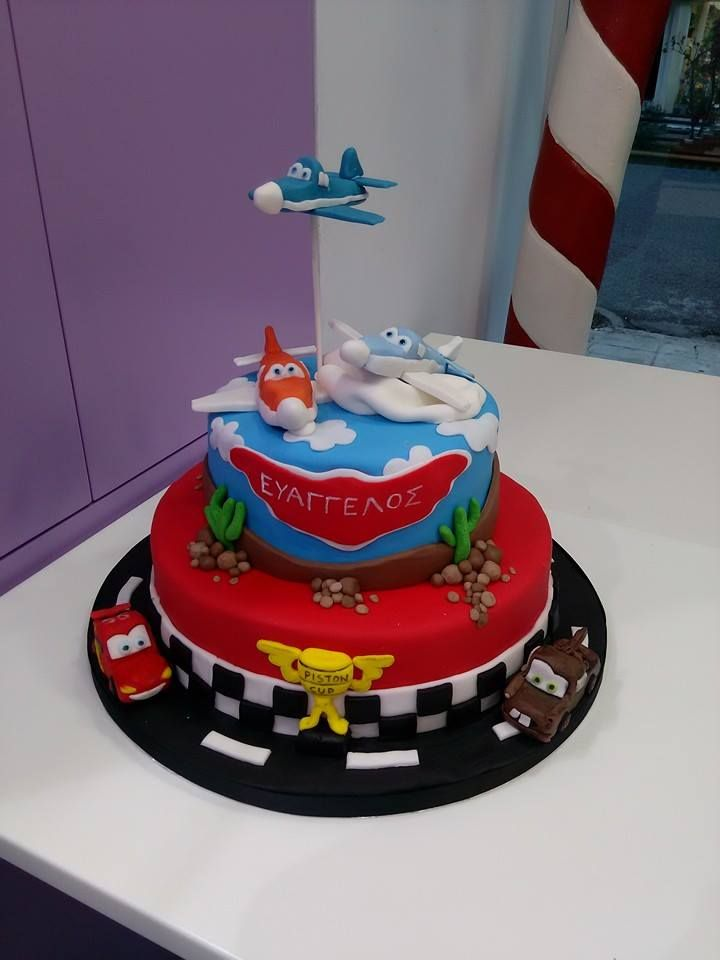 Planes and Cars birthday cake