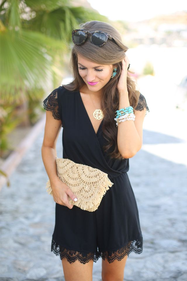 Black Lace Romper can be dressed up or down. Could work for a day or night out.