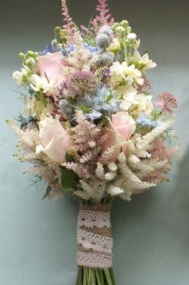 Beautiful Bouquet composed of field flowers astible, sweet akito roses, lt. blue delphinium, white freesia, mini allium balls