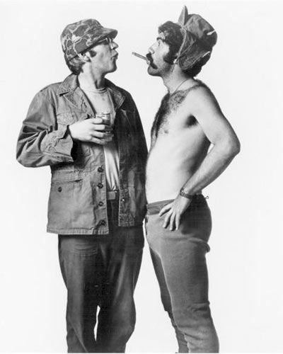 "Donald Sutherland as Hawkeye and Elliot Gould as Trapper John in ""MASH."""