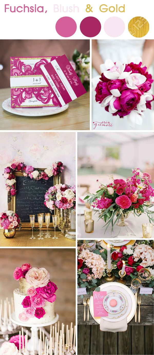 vivid fuchsia and gold summer wedding color palette