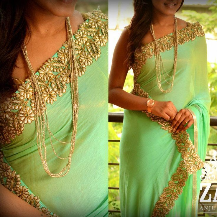 A lime green saree with a delightful gold border. We love this look! <3