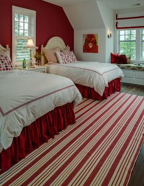 Traditional Red And White Bedrooms Bedroom Design Ideas, Pictures, Remodel and Decor