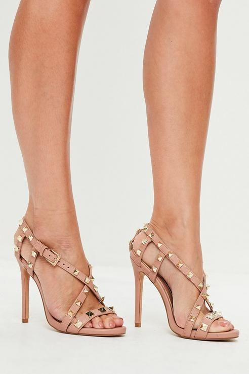 27cf55d323 Missguided Nude Pyramid Cross Strap Heeled Sandals | ° For the Feet ...