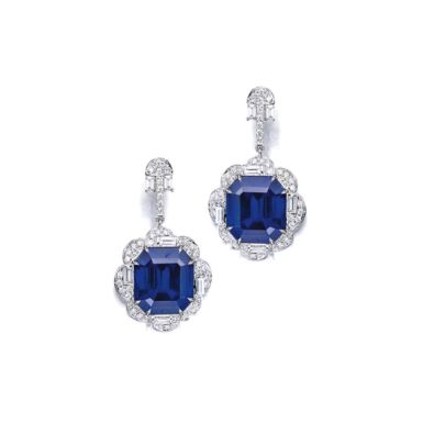 A Pair of Sapphire and Diamond Earclips. Sotheby's