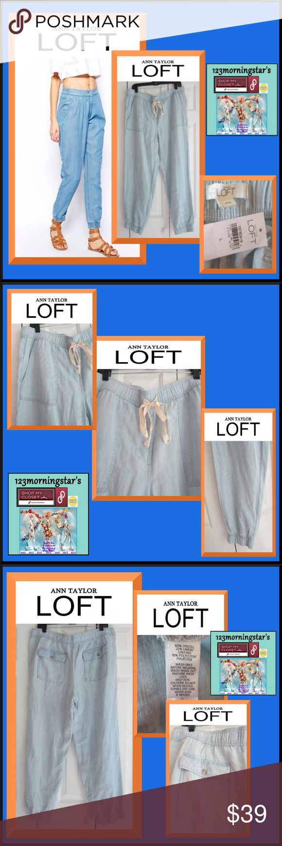 ANN TAYLOR LOFT Drawstring Elastic Ankl Beach Pant ANN TAYLOR LOFT |NEW| Chambray Jogger Drawstring Cuffed Leg Blue Pant L Light Blue Elastic waistband with drawstring Pull-on style Big slant patch pockets at hips Wide relaxed/Cuffed ankle leg Two button flap pockets in back Machine wash cold/Tumble dry low 60% Lyocell/22% Linen/18% Polyester  (Tencel/lyocell a sustainable fabric regenerated from wood cellulose. Similar to rayon/bamboo regenerated   fabrics. Environmentally friendly…