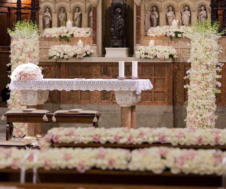 Pink roses full altar