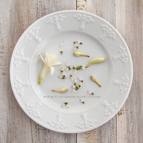 Simplicity: white flowers on a white plate ~ www.flaviamorlachetti.com