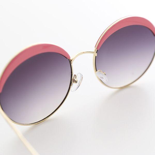 Sun童品*歐美女童2015春夏新款粉色邊圓型太陽鏡時尚寶寶兒童眼鏡